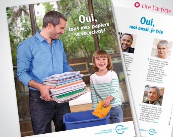 Quadrature, l'agence de communication corporate et environnementale accompagne Ecofolio pour développer le recyclage des papiers
